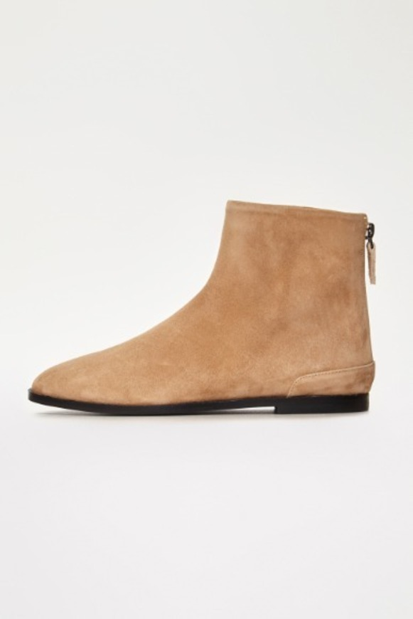 Beige Suede Flat Boots